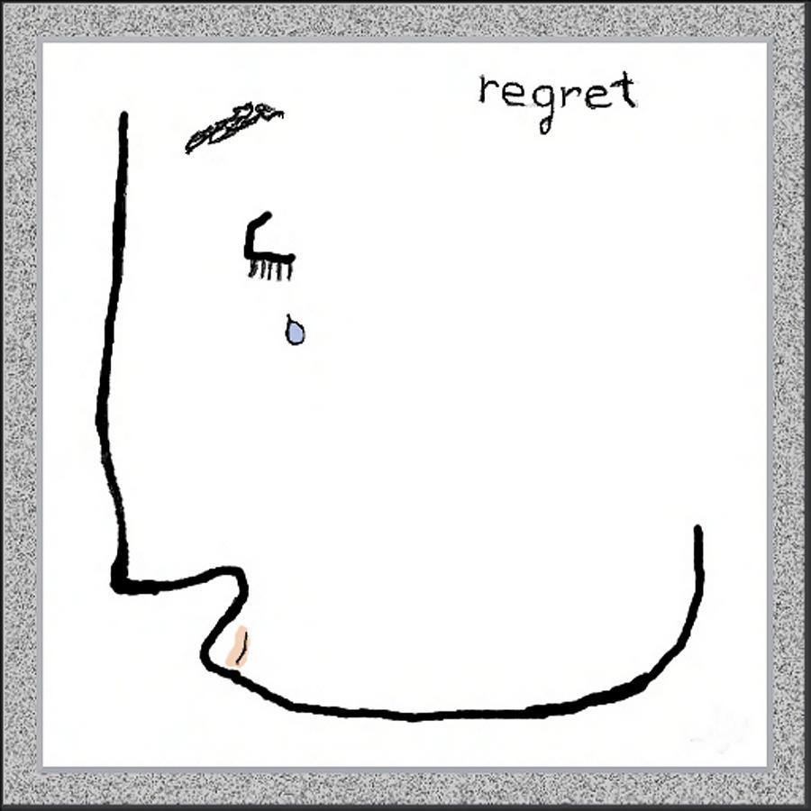 Line Drawing Digital Art - Regret by Mathilde Vhargon