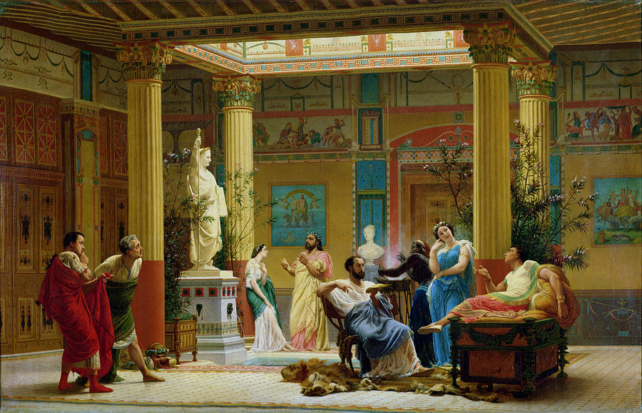 Interior Painting - Rehearsal Of The Fluteplayer And The Diomedes Wife In The Atrium Of The Pompeian House Of Prince by Gustave Clarence Rodolphe Boulanger