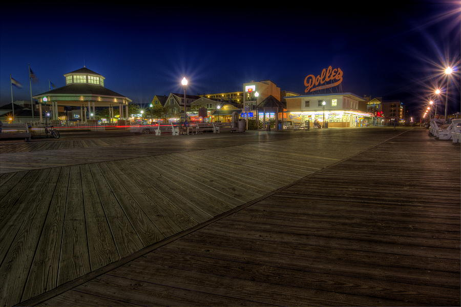Rehoboth Beach Photograph - Rehoboth Beach Boardwalk At Night by David Dufresne