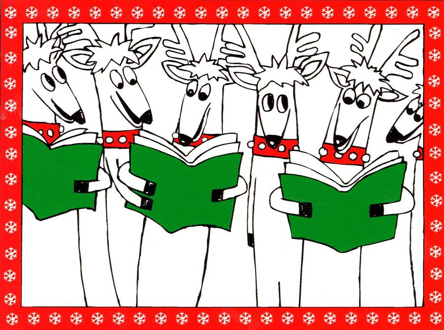 Christmas Card Painting - Reindeer Choir by Genevieve Esson