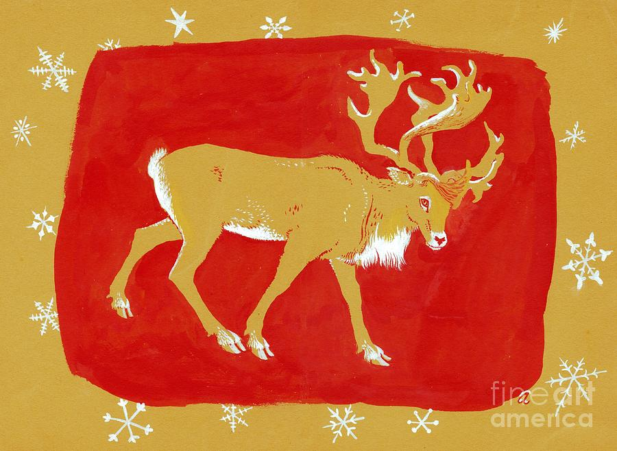 Christmas Card Painting - Reindeer by George Adamson