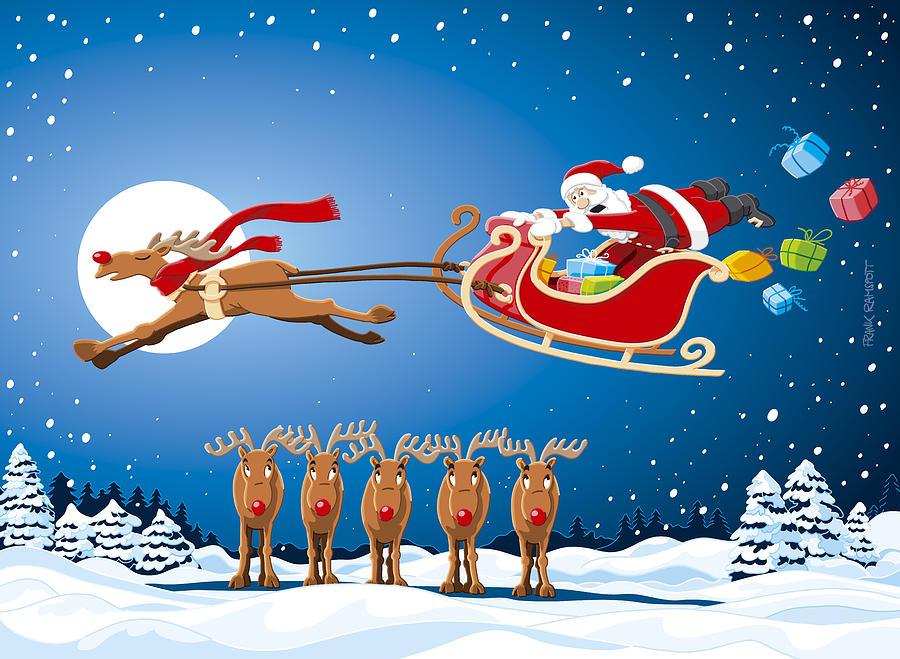 reindeer santa sleigh christmas stunt show digital art by frank ramspott reindeer santa sleigh christmas stunt show by frank ramspott