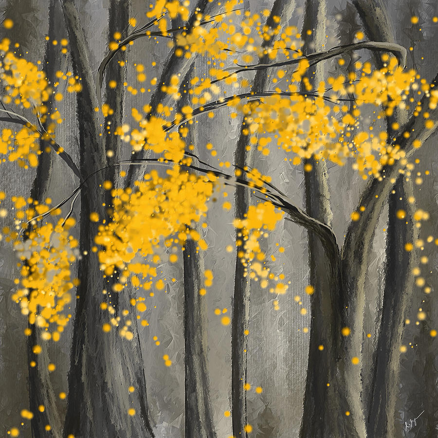 Rejuvenating Elements- Yellow And Gray Art Painting by Lourry Legarde