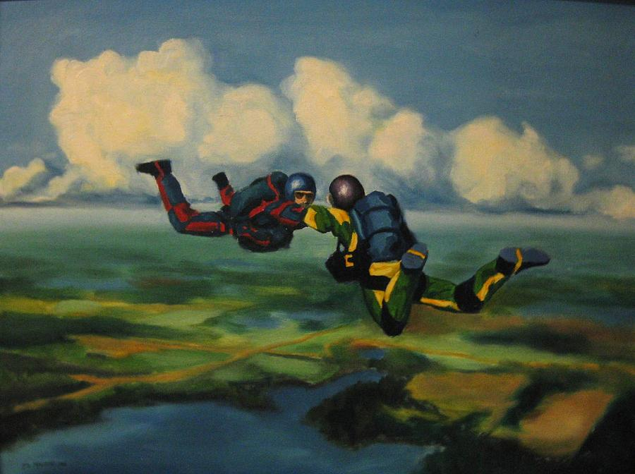 Skydivers Painting - Relative Work by John Malone