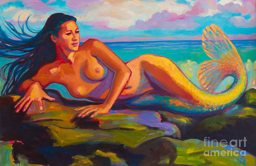 Mermaid Painting - Relaxation is Enlightenment by Isa Maria