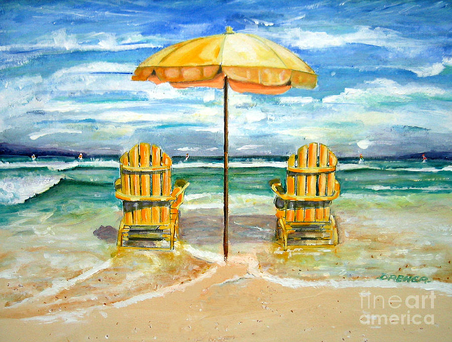 relaxing at the beach painting by chris dreher