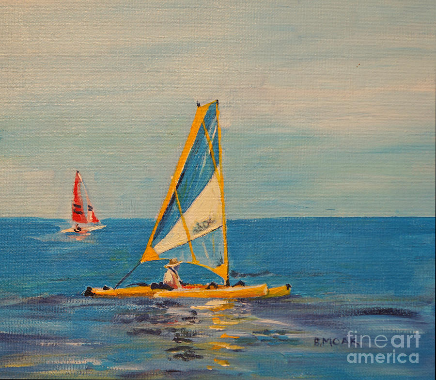 Boat Painting - Relaxing in the Hobie by Barbara Moak