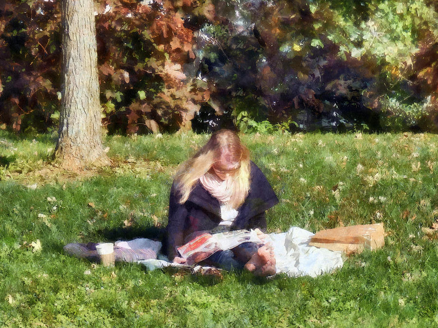 Autumn Photograph - Relaxing In The Park by Susan Savad