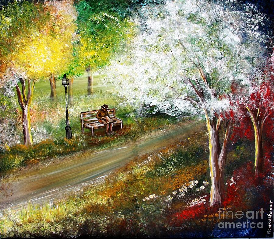 Trees Painting - Relaxing In The Woods by Roni Ruth Palmer