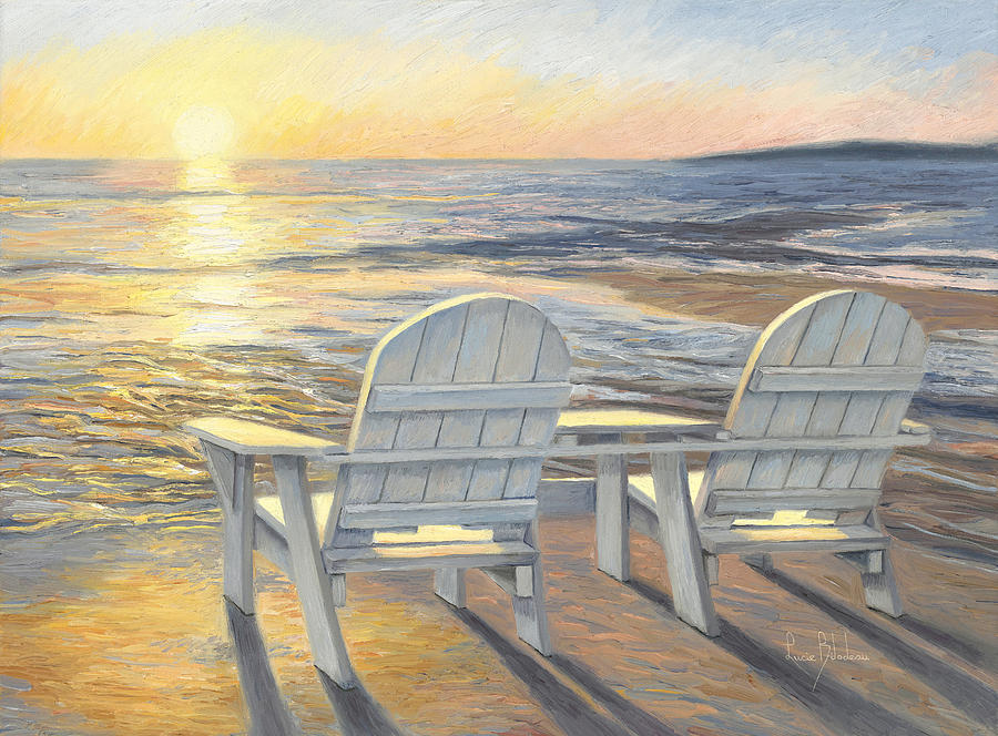Beach Painting - Relaxing Sunset by Lucie Bilodeau