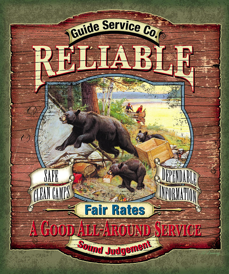 Philip Goodwin Painting - Reliable Guide Service Sign by JQ Licensing