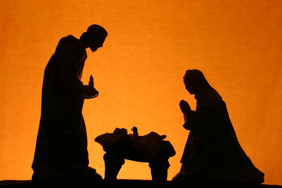 Religious: Christmas Nativity Trio Silhouette on Gold Photograph by Cstar55