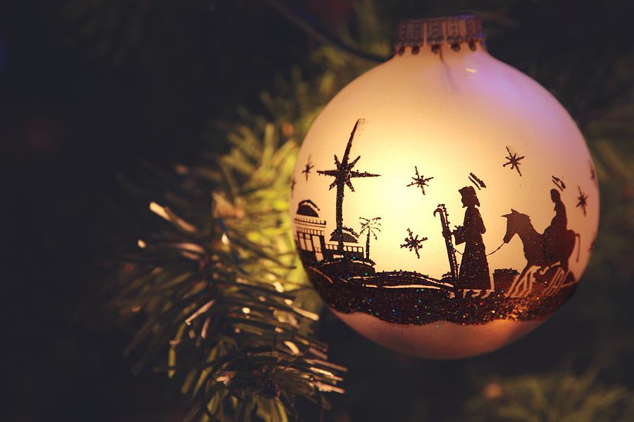 Religious: Nativity Scene silhouette on Christmas Ornament Photograph by Cstar55