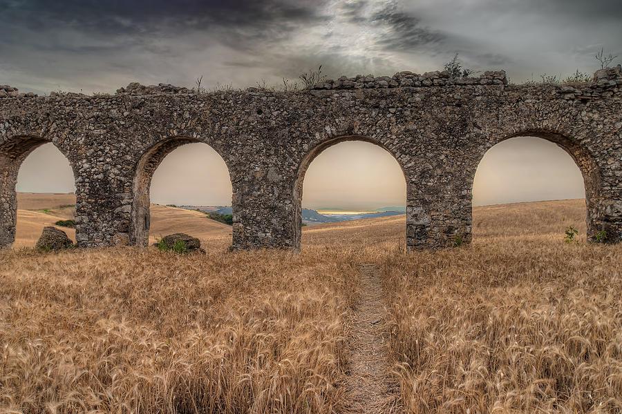 Roman Aqueduct Photograph - remains of Roman aqueduct 300 a.C. by Leonardo Marangi
