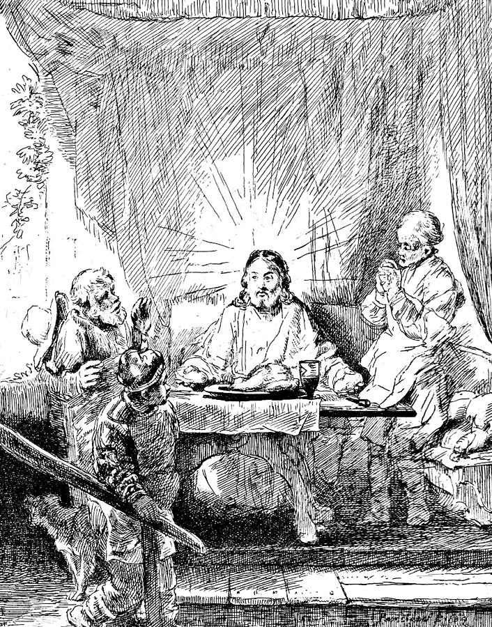 Rembrandt Etching Supper At Emmaus Drawing By