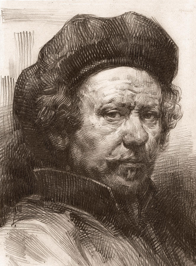 Sketching Drawing - Rembrandt Portrait 1 by Behzad Sohrabi