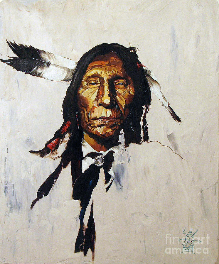 Native American Portraits Painting - Remember by J W Baker