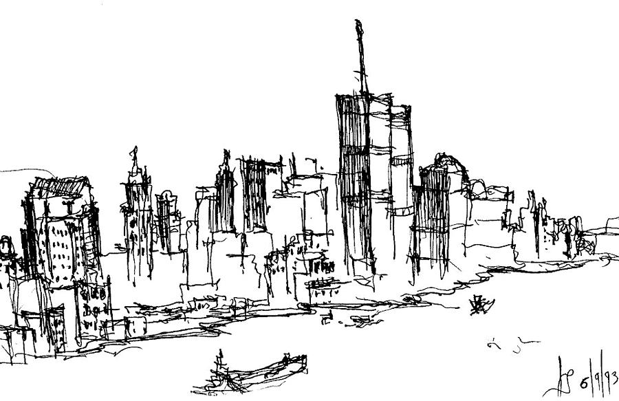 World Trade Center Drawing - Remember World Trade Center by Jason Nicholas
