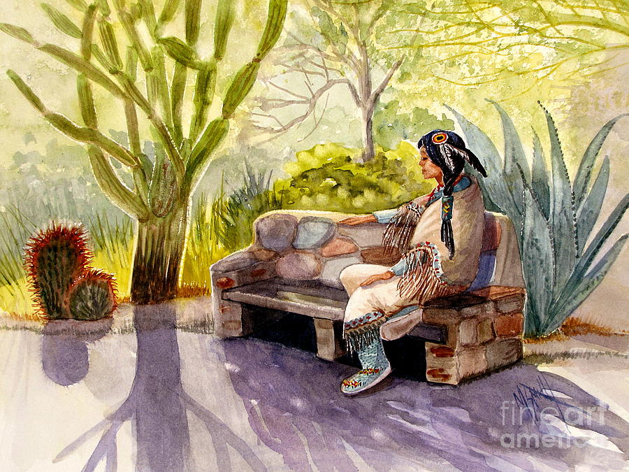 Native American Painting - Remembering The Old Ones by Marilyn Smith