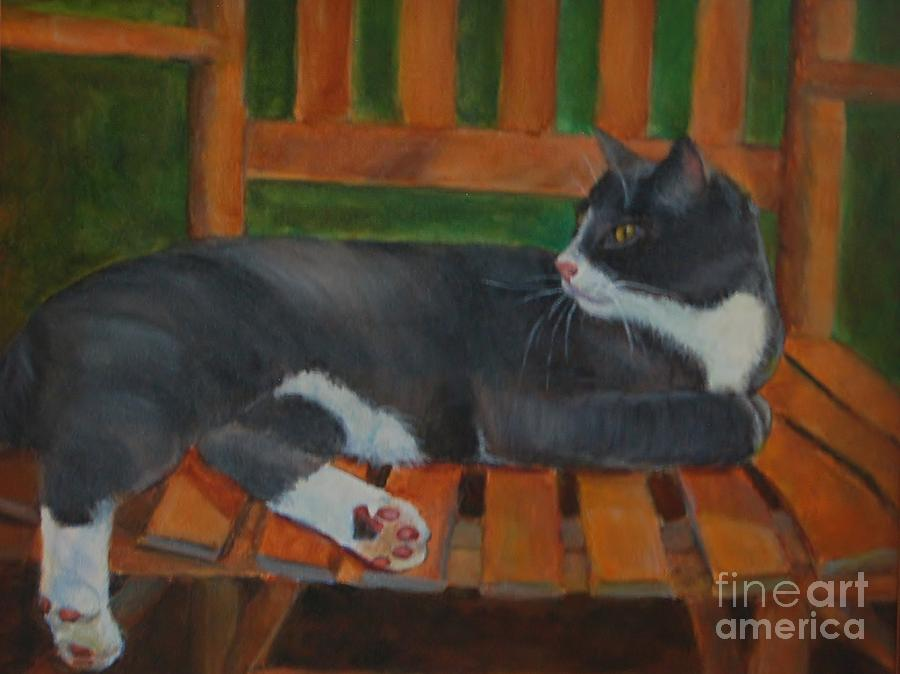 Gray And White Cat Painting - Remy by Jana Baker