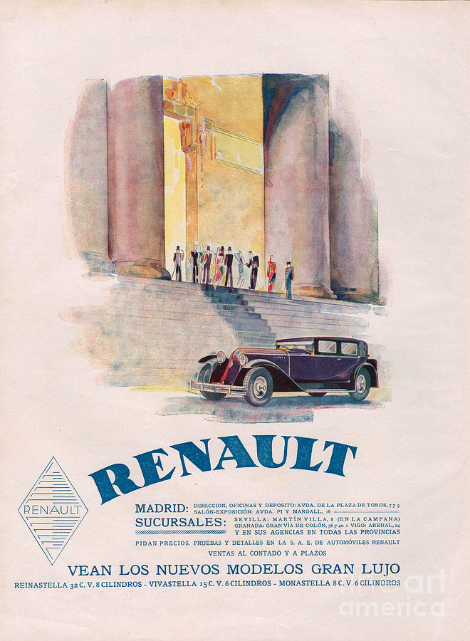 Adverts Drawing - Renault 1930 1930s Usa Cc Cars by The Advertising Archives