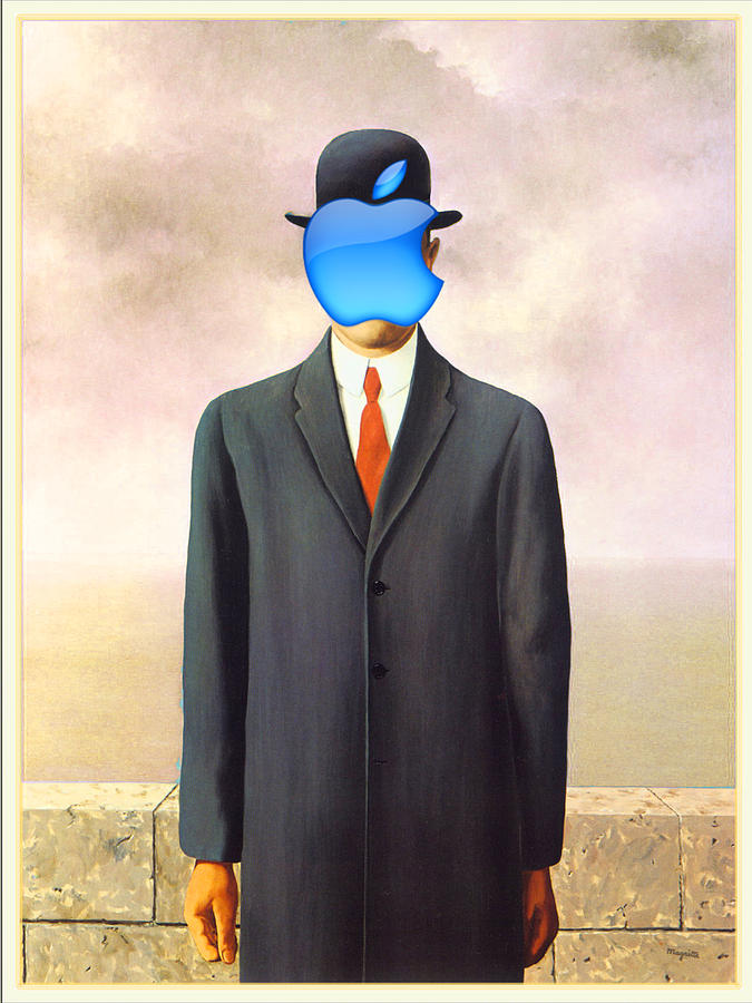 The Son Of Man Painting - Rene Magritte Son Of Man Apple Computer Logo by Tony Rubino