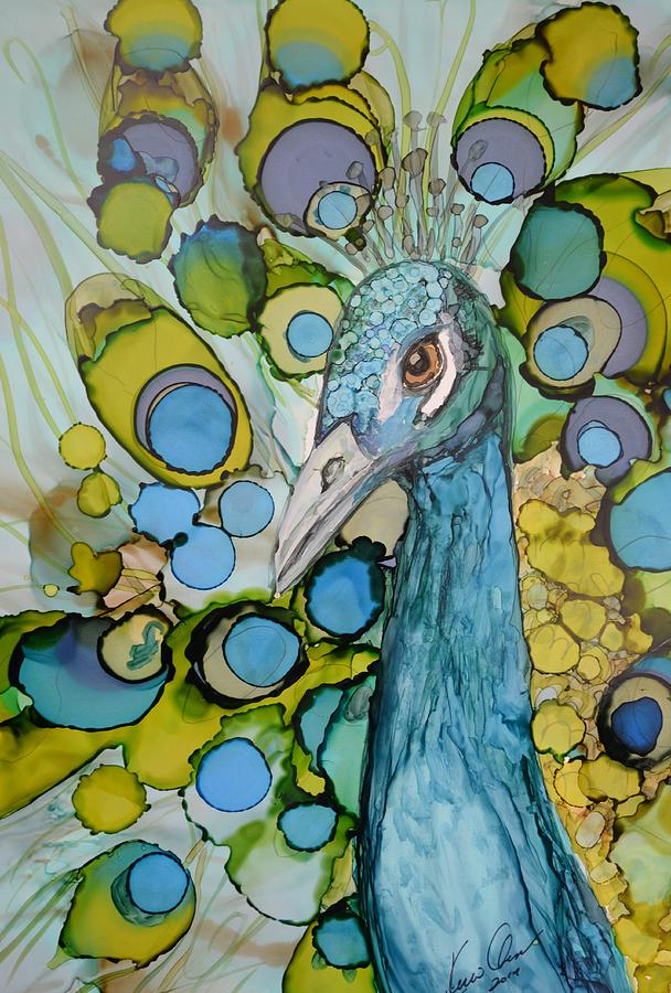 Peacock Painting - Renewal by Kellie Chasse