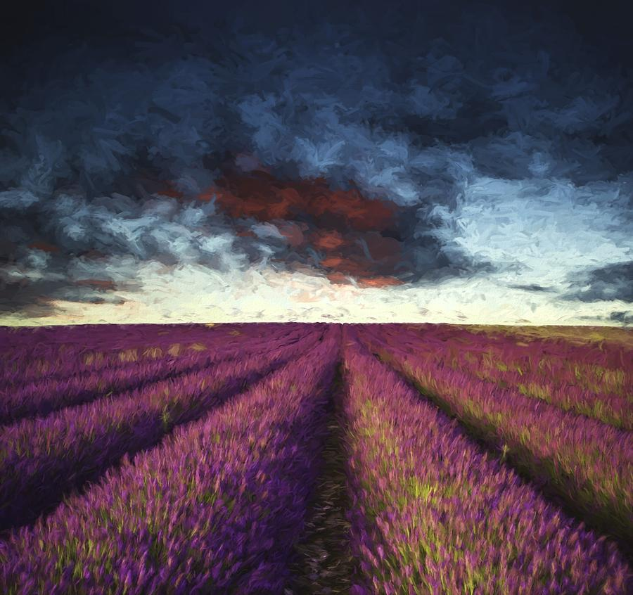 Landscape Photograph - Renoir Style Digital Painting Vibrant Summer Sunset Over Lavender Field Landscape by Matthew Gibson