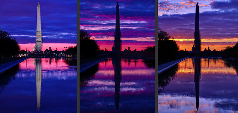 Metro Photograph - Repairing The Monument Triptych by Metro DC Photography