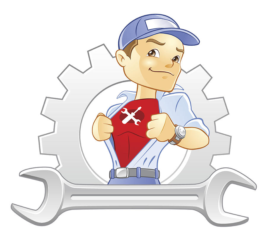 Repairman, Handyman, Mechanic Super Hero With Wrench And Gear by Seanjames