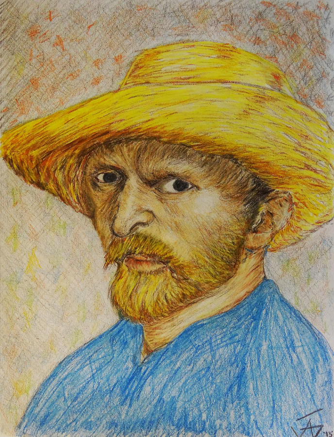 deb46dbfdc0 Replica Of Van Gogh s Self-portrait With Straw Hat Drawing by Jose A ...