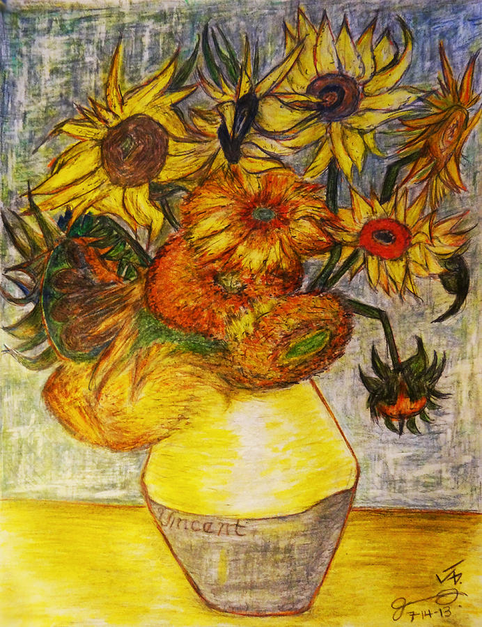 Replica Of Vincent Van Goghs Still Life - Vase With Twelve Sunflowers Drawing