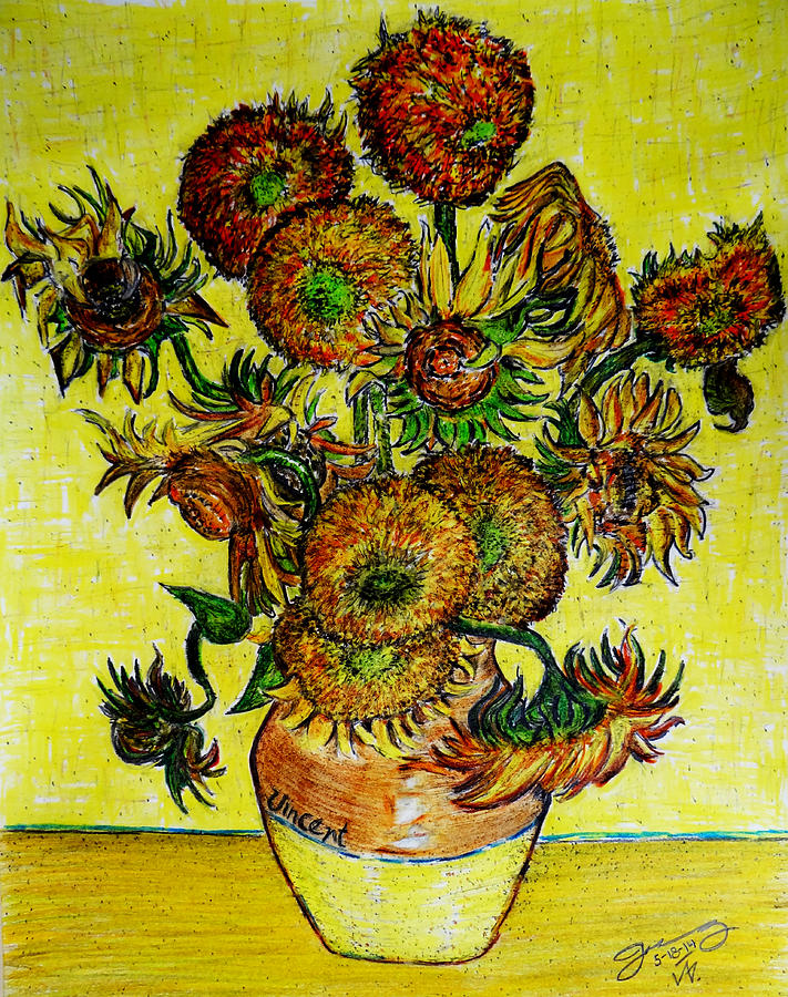 Replica Of Vincents Still Life Vase With Fifteen Sunflowers Drawing