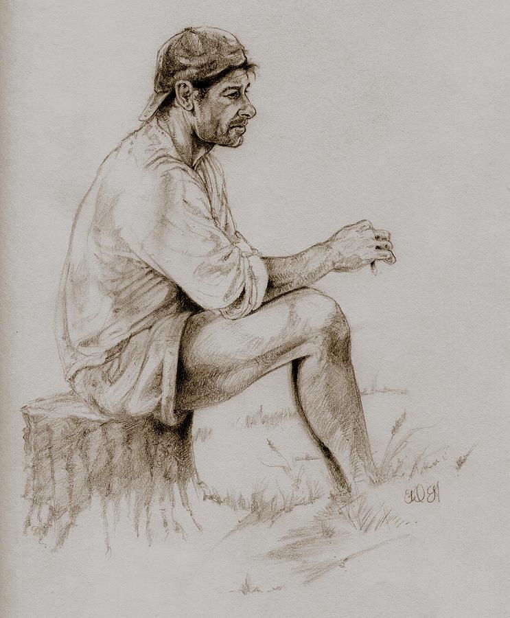 Figurative Drawings Drawing - Repose by Derrick Higgins