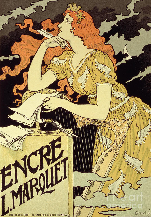 Vintage Drawing - Reproduction Of A Poster Advertising marquet Ink by Eugene Grasset
