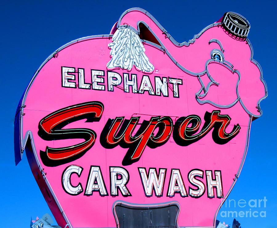 Elephant Super Car Wash Sign Seattle Washington Photograph