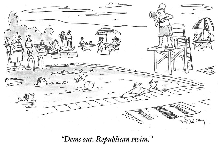 Republicans Swim Drawing by Mike Twohy