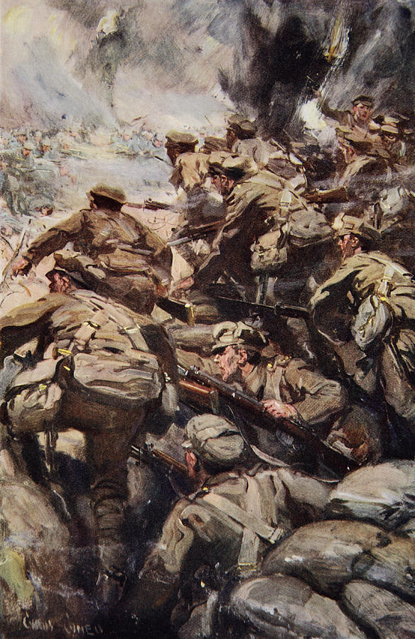 World War I Drawing - Repulsing A Frontal Attack With Rifle by Cyrus Cuneo