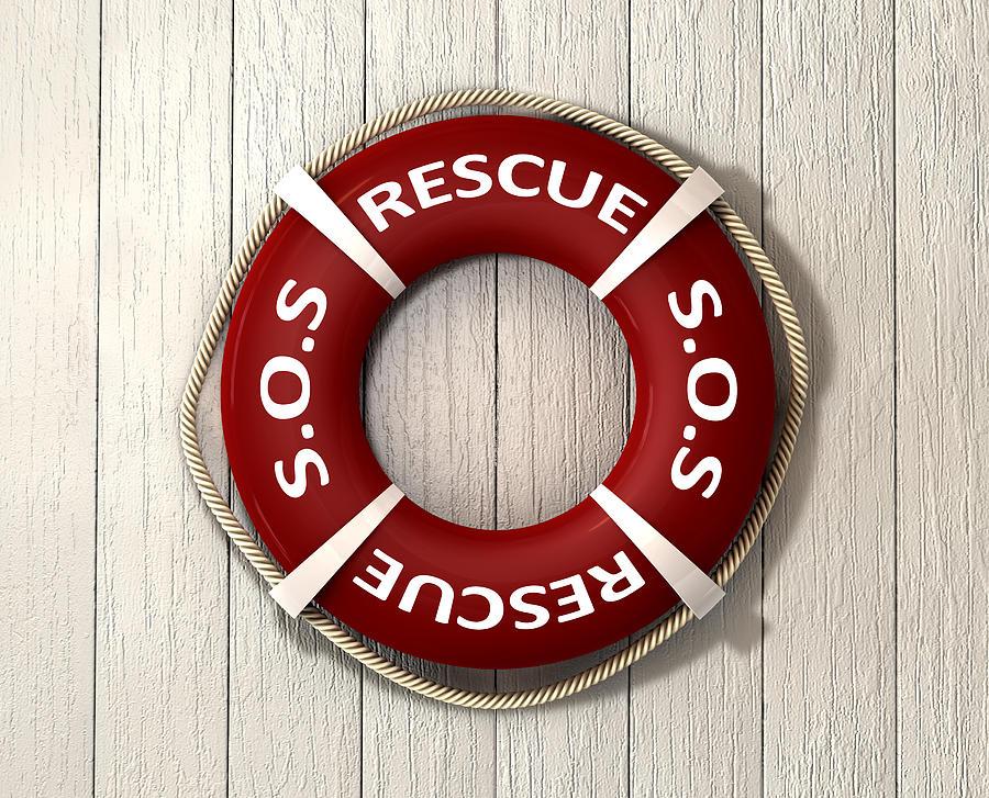 Save Digital Art - Rescue Lifebuoy by Allan Swart