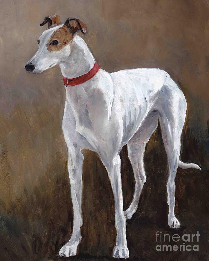 Greyhound Painting - Rescued Racer by Charlotte Yealey