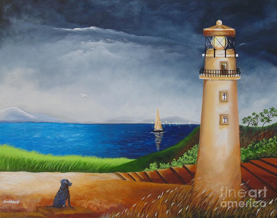 Light House Painting - Resilient by Nereida Rodriguez