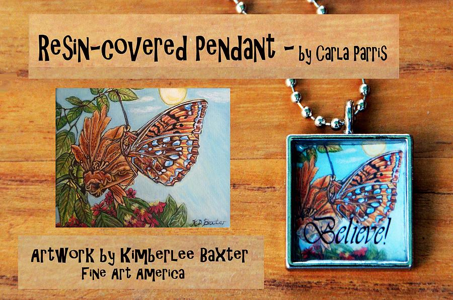 Butterfly Jewelry - Resin Pendant With Butterfly And Sky by Carla Parris