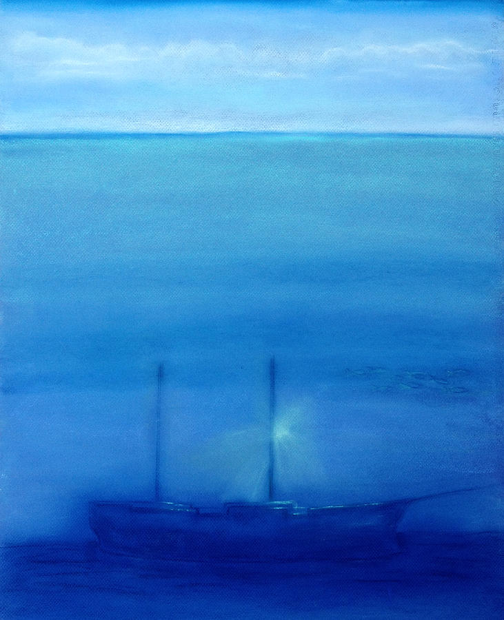 Ship Painting - Rest In Blue Silence by Diana Perfect