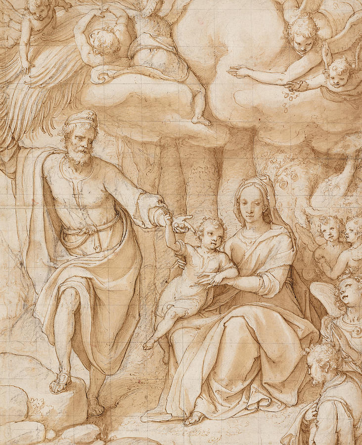 Zuccaro Drawing - Rest On The Flight Into Egypt by Federico Zuccaro