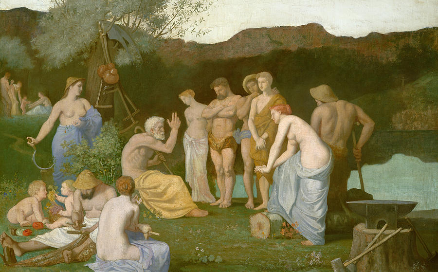 Symbolist; Classical; Group; Old; Young; Child; Female; Male; Resting; Hammer; Nude; River; Philosopher Painting - Rest by Pierre Puvis de Chavannes