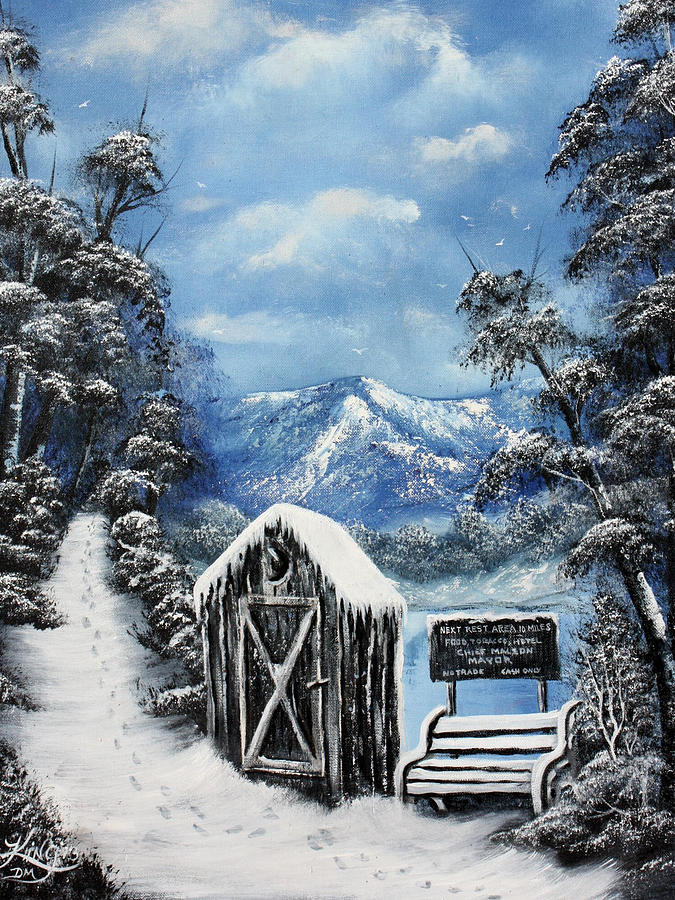Outhouse Painting - Rest Stop by Russell  King
