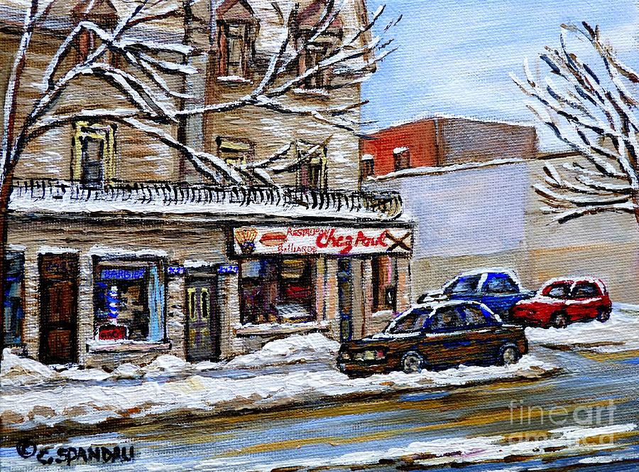 Montreal Painting - Restaurant Chez Paul Pointe St. Charles Salle Billard Chez Paul Montreal Winter City Scene  by Carole Spandau
