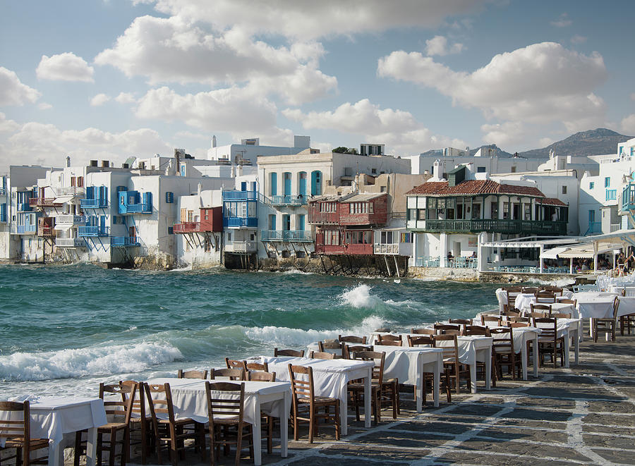 Restaurant Tables On The Mykonos Photograph by Ed Freeman