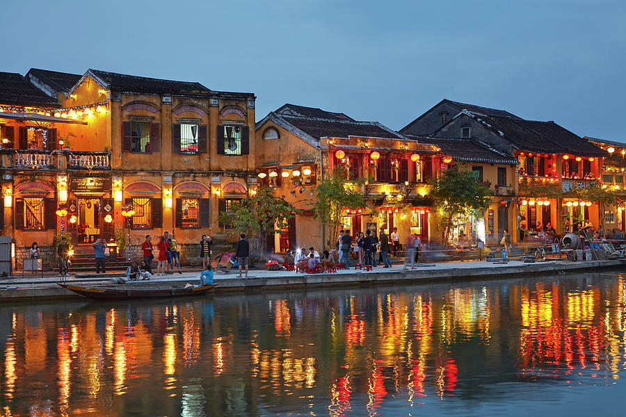 Asia Photograph - Restaurants Reflected In Thu Bon River by David Wall