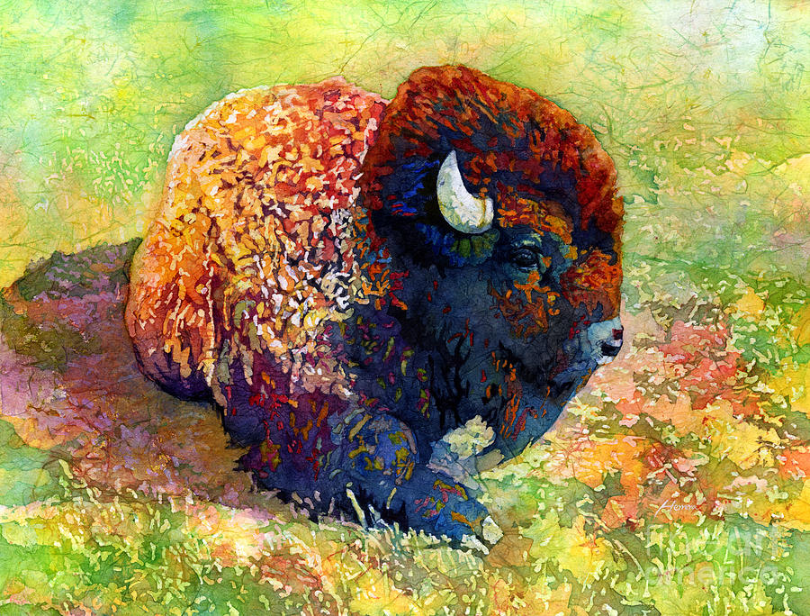 Resting Bison Painting
